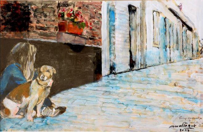 wallaert karperstraat machelen aan de leie schilderij met hond